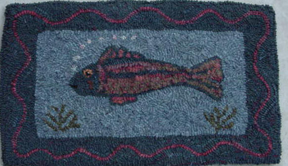 Fish pattern on monks cloth 11 x 19