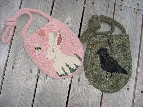 Hooked purse pattern on monks cloth 9 x 9 1/2 choice of rabbit, crow, flower or star motif