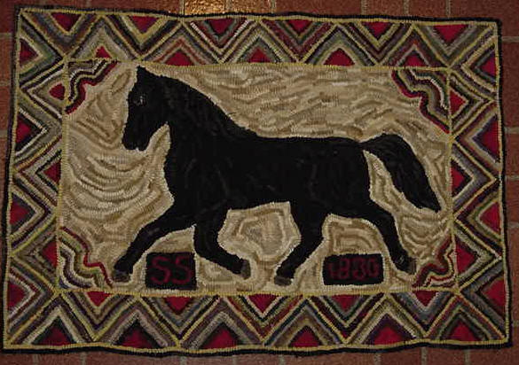 This Is An Adaptation Of An Antique Rug Which Was Originally Hooked In  1880. I Have Hooked That Date Into The Bottom Right Hand Side Of The Rug.