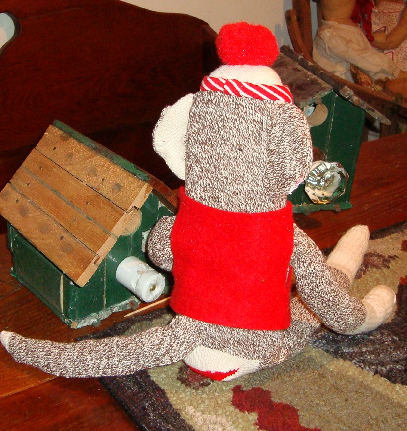 Sock monkey back view